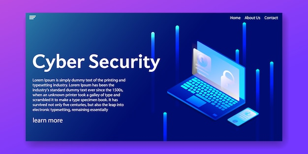 Isometric cyber security concept.web template