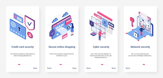 Isometric cyber security network technology ux, ui onboarding mobile app page screen set