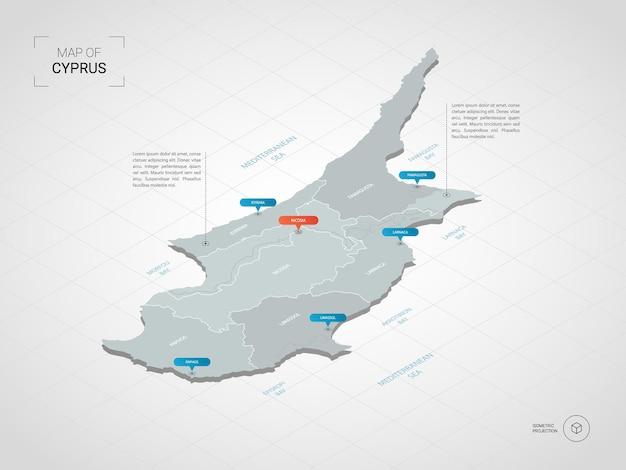 等尺性キプロスマップ。都市、国境、首都、行政区画、ポインターマークのある定型化された地図のイラスト。グリッドとグラデーションの背景。