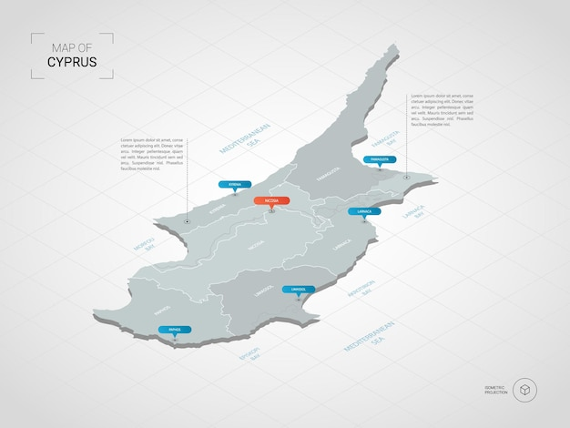Isometric   cyprus map. stylized  map illustration with cities, borders, capital, administrative divisions and pointer marks; gradient background with grid.