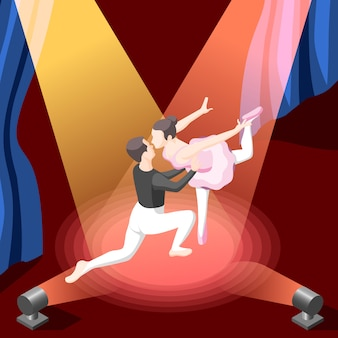Isometric dancing couple under spotlights