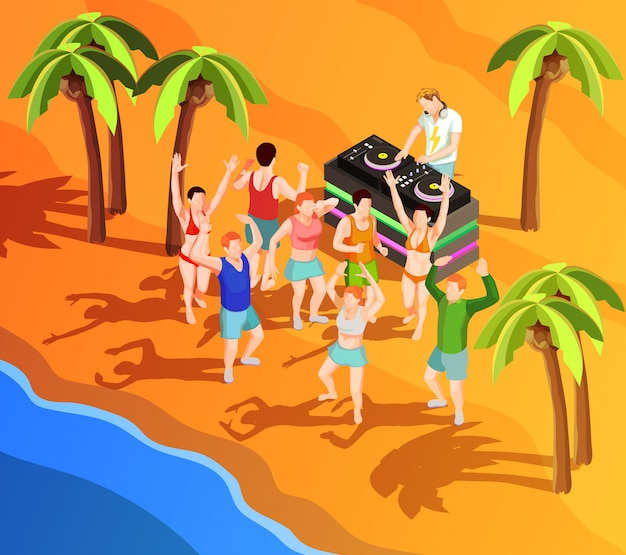 Isometric dancing people at the beach illustration