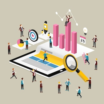 Isometric  of data analysis concept