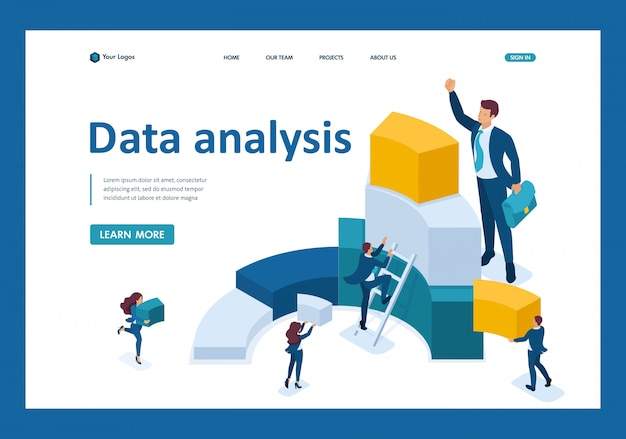 Isometric data for analysis, creating charts, businessmen carry information landing page