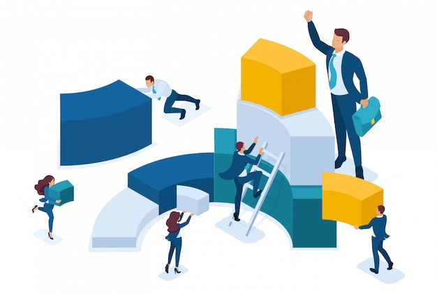 Isometric data for analysis, creating charts, businessmen carry information.