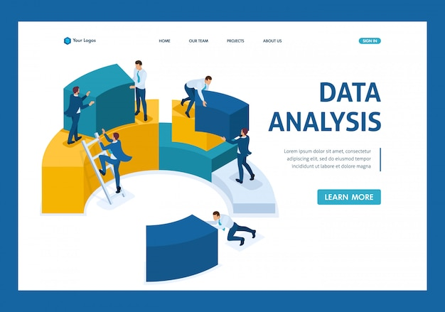 Isometric data analysis, data collection for analytics, employees work landing page