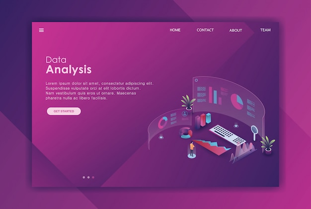 Isometric data analysis landing page template