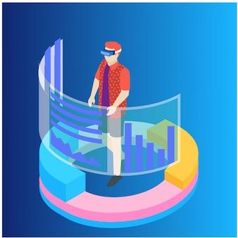 Isometric data analysis and statistics concept.