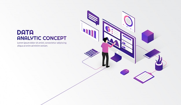 Isometric data analytic concept for business report