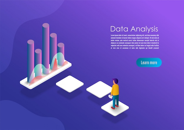 Isometric data analytics concept banner.