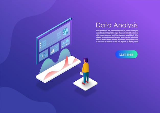 Isometric data analytics concept banner.