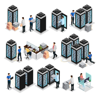 Isometric data center collection with engineers repair and  maintain hosting servers equipment isolated