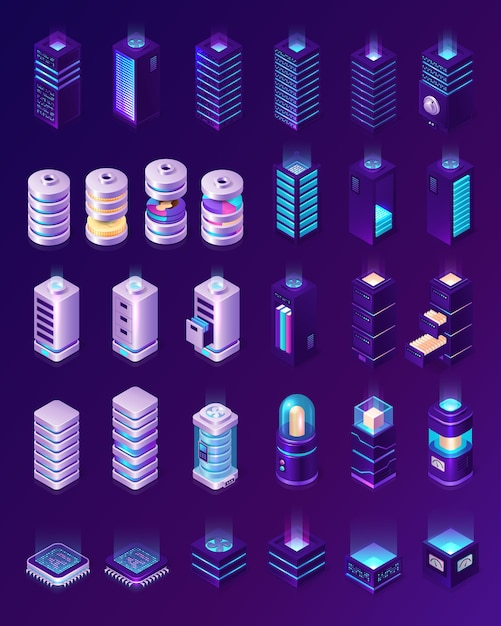 Isometric data center, server room equipment, hardware racks or web hosting infrastructure icons isolated