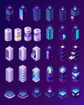 Isometric data center, server room equipment, hardware racks or web hosting infrastructure icons isolated