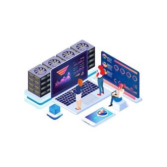 アイソメトリックデータ収集、分析グラフ、オンラインコンピューティング。