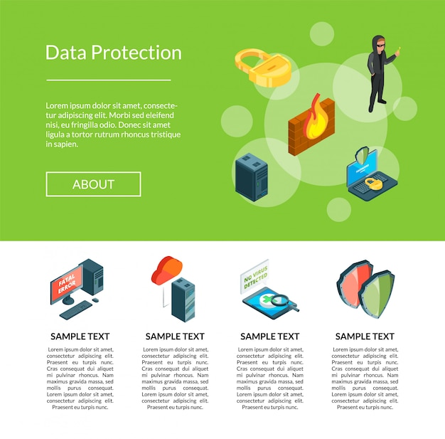 Isometric data and computer safety icons landing page template