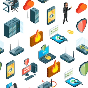 Isometric data and computer safety icons pattern or