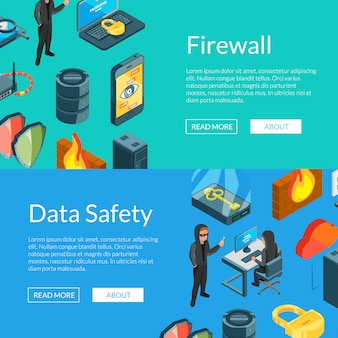Isometric data and computer safety icons web banner templates