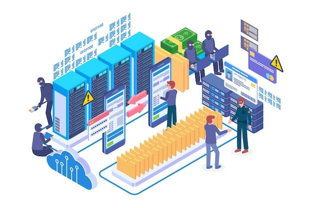 Isometric data fraud technology vector concept
