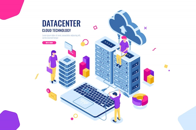 Isometric data security, computer engineer, data center and server room, cloud computing