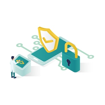 Isometric data security illustration, people data security in isometric style design.