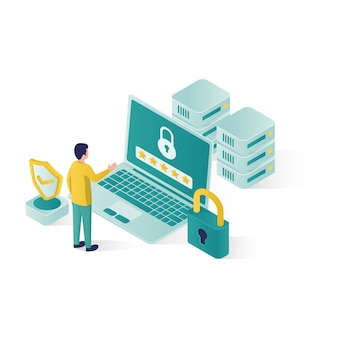 .isometric data security illustration, people data security in isometric style design
