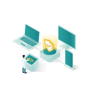 Isometric data security illustration, people data security in isometric style design