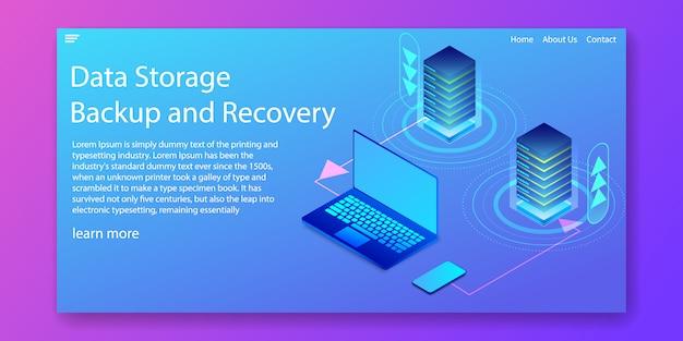 Isometric data storage concept.web template