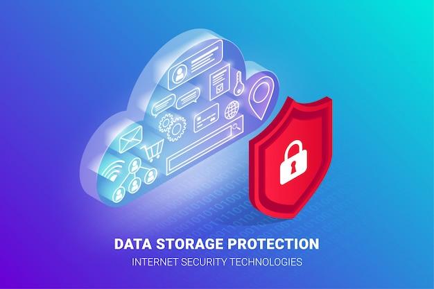 아이소 메트릭 데이터 저장 보호 배너. 자물쇠와 방패 뒤에 투명 빛나는 사이버 구름에 아이콘. 안전 기밀 개인 정보 개념. 삽화