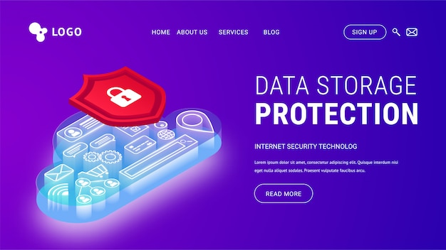 Isometric data storage protection landing page