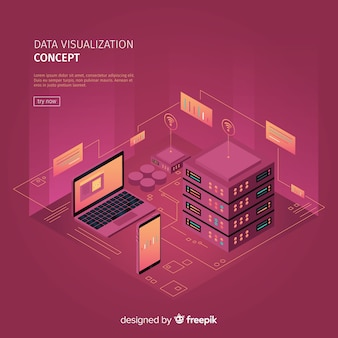 Isometric data visialization concept illustration