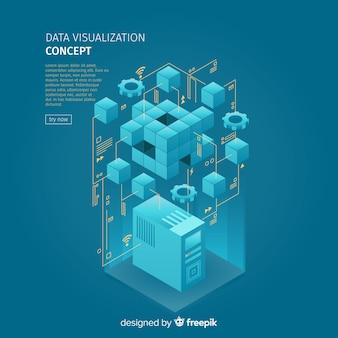 Isometric data visialization concept illustration
