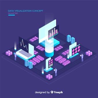 Isometric data visualization background