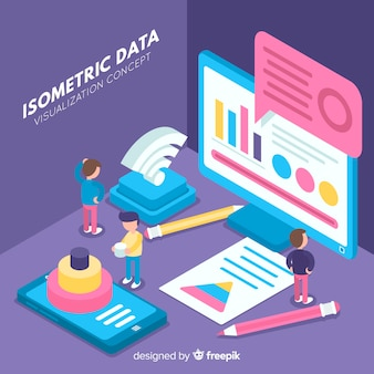 Isometric data visualization background
