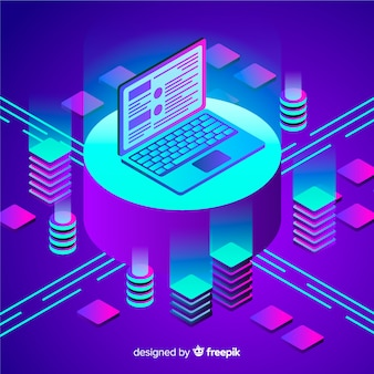 Isometric data visualization concept background