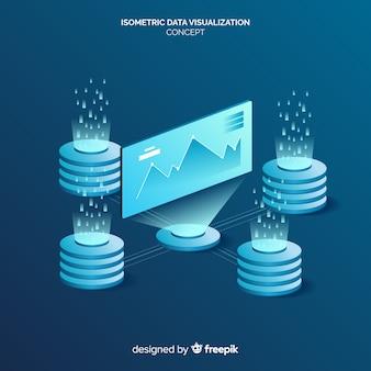 Isometric data visualization concept background