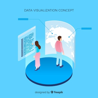 Isometric data visualization concept