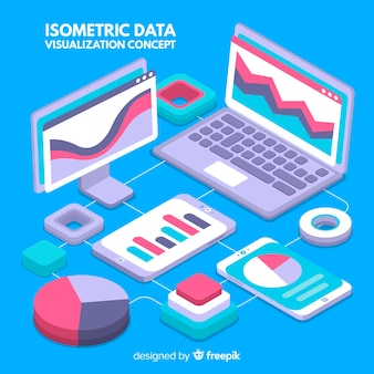 Isometric data visualization elements background