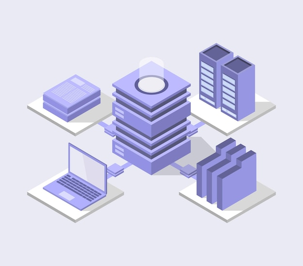 Isometric database center illustration