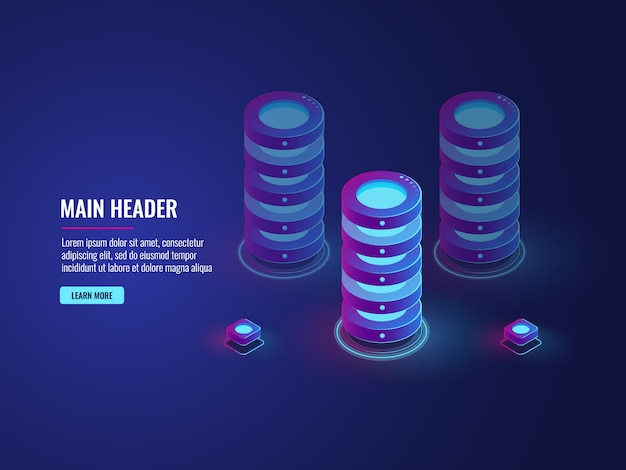Isometric database cloud storage concept, server room icon, big data processing