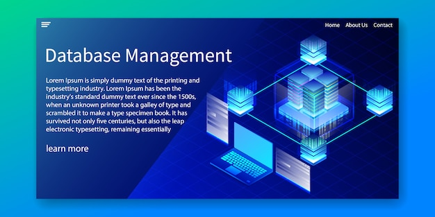 Isometric database management, website template.