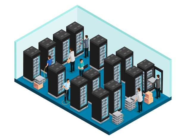 Isometric datacenter concept with engineers in data security server room for equipment repairing and maintenance isolated