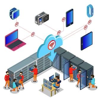 Изометрические концепция центра обработки данных