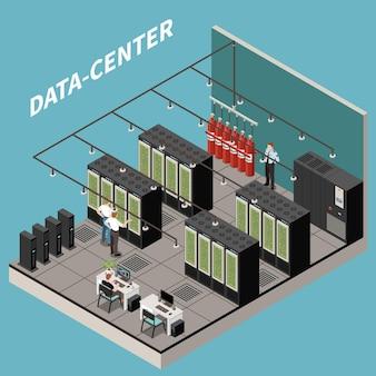Изометрическая иллюстрация центра обработки данных