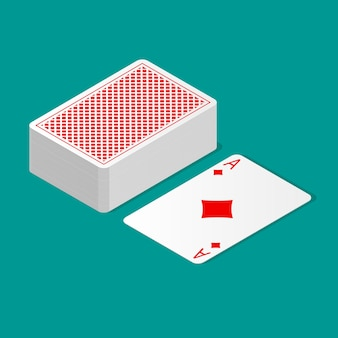 Isometric deck of poker cards upside down and one card suit up. playing cards with back design.