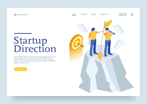 Isometric define startup business direction and search customer global network concept