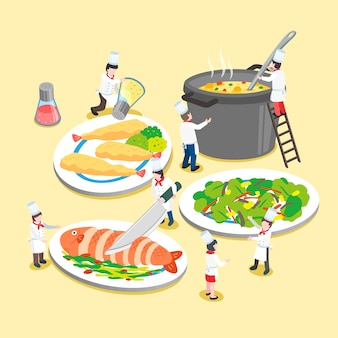 Isometric  of delicious dishes with little cooks
