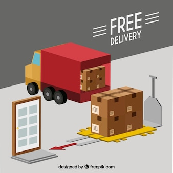 Isometric delivery concept with flat design