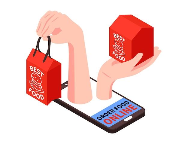 스마트폰 이미지와 음식 상자가 있는 사람의 손이 있는 아이소메트릭 배달 음식 구성 프리미엄 벡터