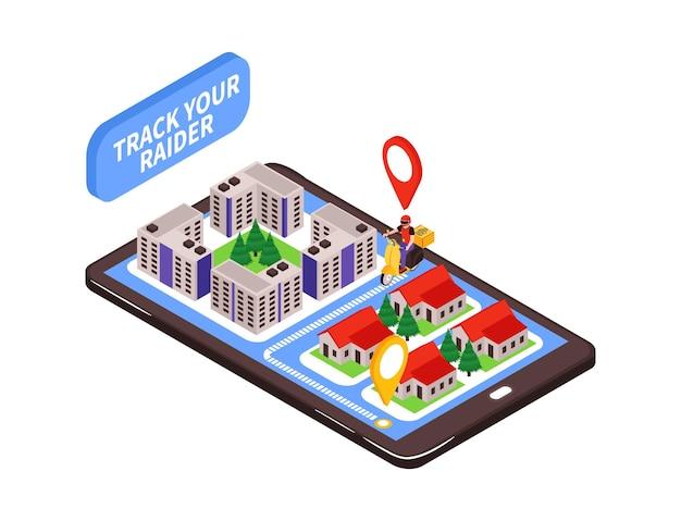 Изометрическая композиция для доставки еды с приложением для отслеживания заказов на смартфоне и картой города с местонахождением курьера в реальном времени